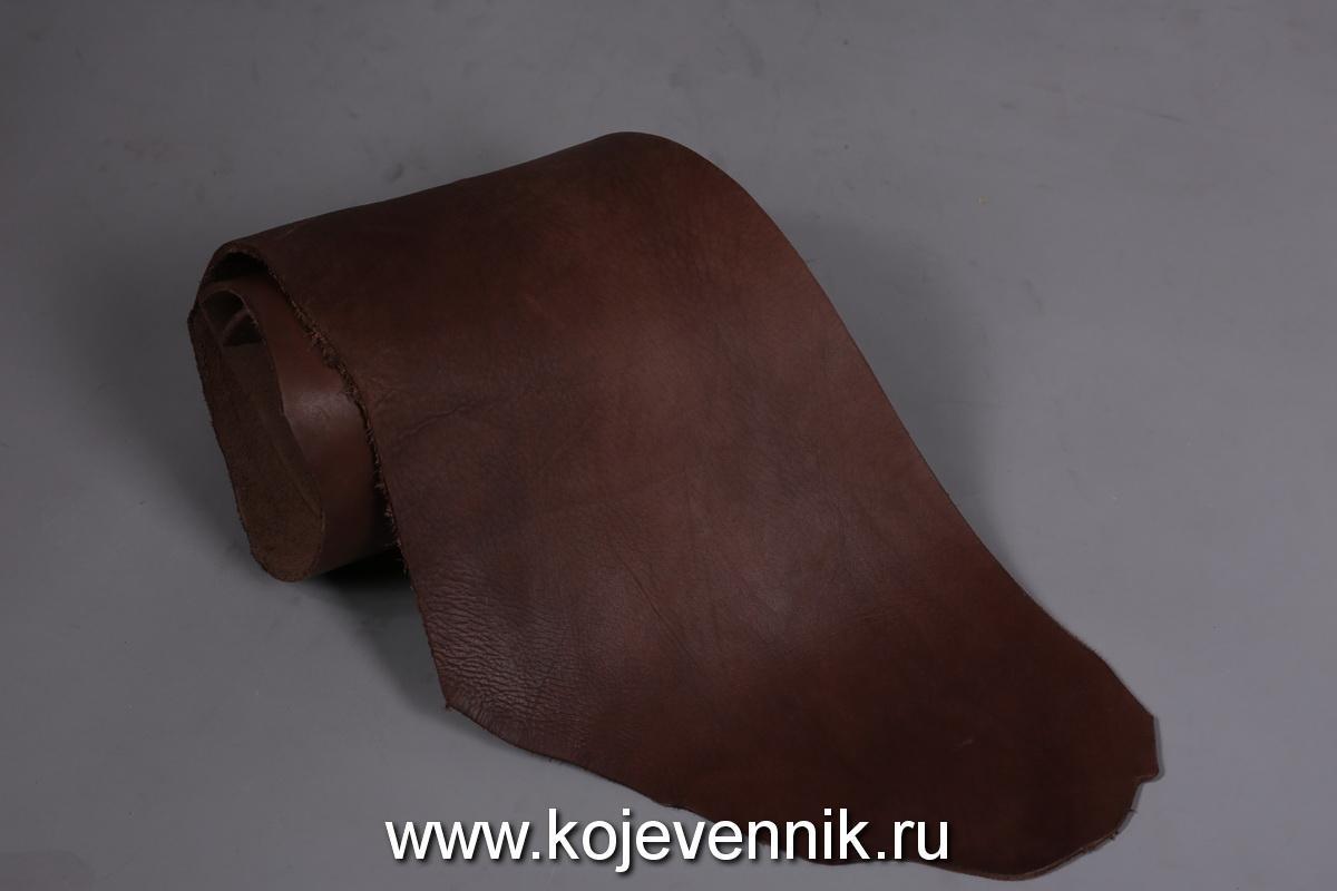 Кожа натуральная - Пола барабаного крашения коричневая